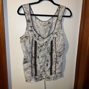 Dress barn women's large tank top white and brown